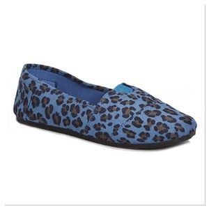 Blue Leopard Slip-on Shoes